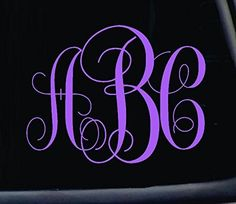 3 Letter Classic Monogram Decal Choose the color and size Perfect for car windows Yeti cups computer case water bottle etc * Want to know more, click on the image.Note:It is affiliate link to Amazon.