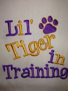 Lil' Tiger in Training Machine Embroidery Design Instant Download