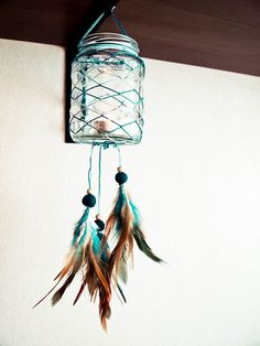 Glass Dream Catcher - Blue Sunset - Dream Catcher with Glass, Blue and Brown Feathers, Blue Nett - Home Decor, Mobile, Candelabrum. $32.00, via Etsy.