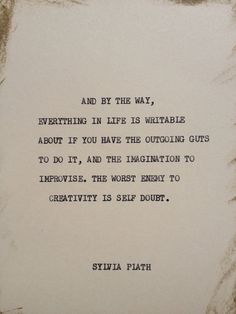 THE SYLVIA PLATH: Typewriter quote on 5x7 cardstock on Etsy, $6.00