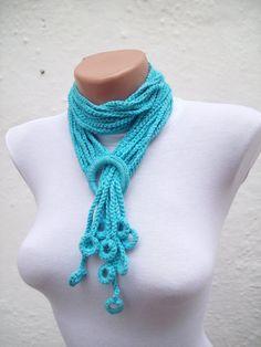 SALE 20  Was 20 Now 16Hand crochet Lariat Scarf Blue by nurlu, $16.00