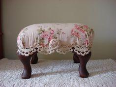 Rose fabric foot stool w/ Queen Ann feet by Birdiesandlace on Etsy