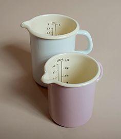 Enamel on steel measuring cups made by Riess in Austria