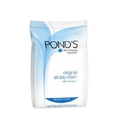 POND'S Original Fresh Wet Cleansing Towelettes, 15-Count (Pack of 8) by POND'S. $9.95. Case of eight packages, each containing 15 towelettes (total of 120 towelettes). Removes makeup and impurities in one easy step. Hypo-allergenic; suitable for sensitive skin; safe for contact lens wearers; alcohol free; dermatologist tested. Made in the United States. With an advanced cleansing complex to gently wipe away dirt and makeup. Amazon.com                             POND's Tow...