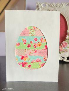 Swanocean: Tutorial: Easter card with washi tape-Πασχαλινή κά...