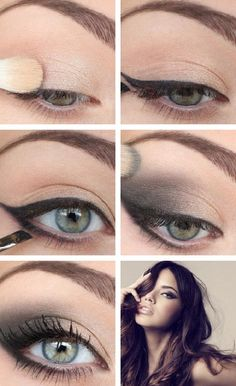 tuto-maquillage-yeux-bleus-eye-liner-fard-paupières-beige-noir aufbewahrung augen blaue augen eyes für jugendliche hochzeit ıdeen retention tipps eyes wedding make-up 2019 Eye Makeup Steps, Natural Eye Makeup, Natural Eyeshadow, Smoky Eyeshadow, Beauty Makeup, Hair Makeup, Makeup Eyeshadow, Eyeshadow Palette, Sexy Eye Makeup