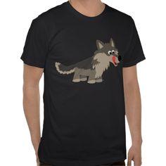 Cute Cartoon Hungry Wolf  T-Shirt by Cheerful Madness!! at Zazzle #tshirts #wolf #kawaii #cartoon #zazzle #cute #hungry
