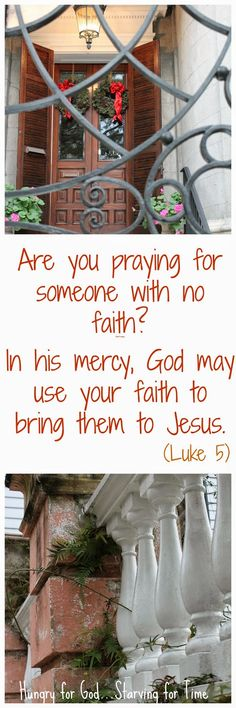 What if you're praying for someone who has no faith of their own? Does it do any good? Prayer is power even if we might no see it right away there is a seed being planted we just need to water it with the word of God and prayer.