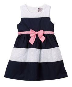 Navy & White Stripe Bow A-Line Dress - Infant & Girls