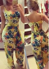 Flower Print Cutout Back Bowknot Embellished Jumpsuit
