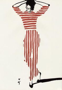 Repin Via: Silvia Foz #summerstripes  Red and white stripes by René Gruau