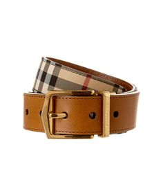 BURBERRY Burberry Reversible Horseferry Check And Leather Belt'. #burberry #belts