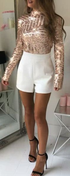 #winter #outfits brown long-sleeved top and white shorts outfit