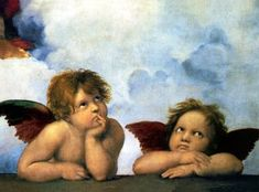 A detail of two iconic cherub angels from a larger work by Raphael called The Sistine Madonna. Renaissance, Sistine Madonna, La Madone, Sistine Chapel, Arte Horror, Grand Palais, Guardian Angels, Oil Painting Reproductions, Stock Art