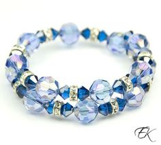 Gorgeous! - Jillian Bold and Vibrant Blue Swarovski Wire Wrap Beaded Bracelet