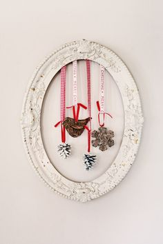 hanging decorations from vintage frame