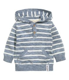 Hooded cotton jumper: Fine-knit hooded jumper in soft cotton with a button placket kangaroo pocket at the front and ribbing at the cuffs and hem. - May 04 2019 at Baby Outfits, Kids Outfits, Little Boy Fashion, Kids Fashion Boy, Knitting Patterns Boys, Baby Boy Tops, Cotton Jumper, France Outfits, Boys Wear