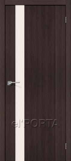 "The Door Factory el'PORTA Materials: Laminated Veneer Lumber (LVL-Beam) / MDF. Finish: Vandal-resistant Textured Veneer with protective varnish (Germany). Glass: Triplex Satin ""Magic Fog"" (Safety Glass)."
