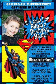 SuperMan Printable Birthday Invitation by MonsterInvitations 1000