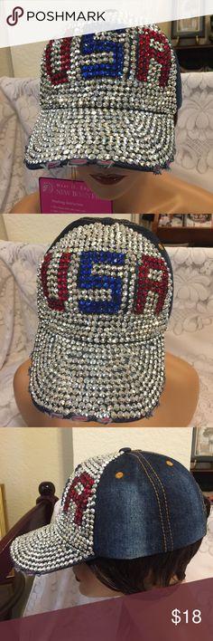 839d5acaead USA Jewel Rhinestone Bling Studs Ball Cap Hat