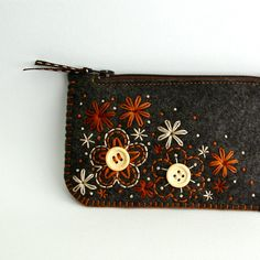 Felt Coin Purse // Hand Embroidered // Sweet Blossoms // LoftFullOfGoodies. $30.00, via Etsy.