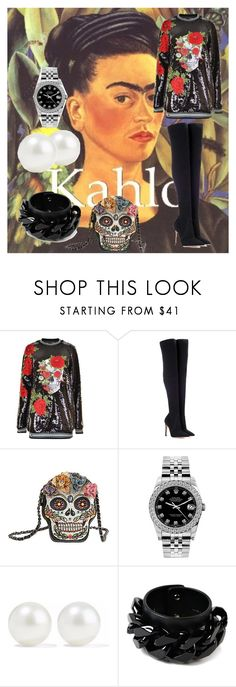 """""""Kahlo"""" by orelsita ❤ liked on Polyvore featuring Philipp Plein, Gianvito Rossi, Mary Frances Accessories, Rolex, Kenneth Jay Lane and Givenchy"""