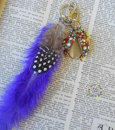 Ladybird purple feathers bagcharm kechain