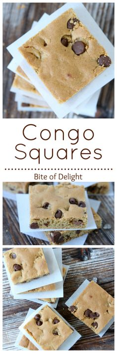 Congo Squares...my favorite childhood cookie, updated to make them even better! Chewy and delicious and easy!! Bite of Delight