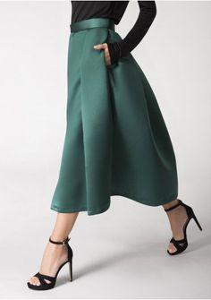 Green Pleated Midi Skirt London 56113dfd8d842