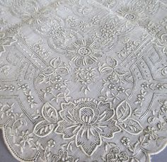 """I started to add this to """"I could do this!"""" but who am I kidding? Handkerchief Sheer Linen Hand Embroidery Pulled Thread"""