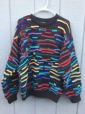 Men's Vintage COOGI Australia 3D Biggie Hip Hop Multi-Color Wool Cosby Sweater L