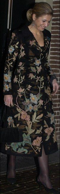 Queen Maxima of the Netherlands and Valentino Fall 2002 Couture Floral Coat