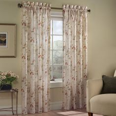 United Chantelle Crushed Voile Printed Floral Curtain Panel Pair (63 Natural), Size 48 x 63
