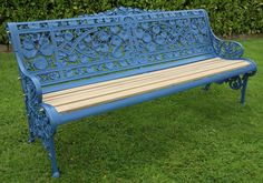A fantastic original Coalbrookdale cast iron bench in the pattern of Nasturtiam C1890 and painted in a modern colour. this is a very useful size bench and it is very comfortable a wonderful investment piece for the home or garden. .