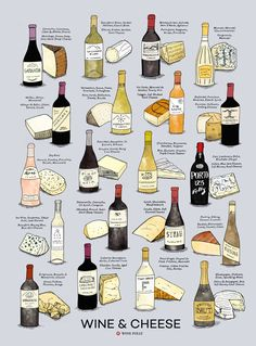 Wine & Cheese Poster Print by Wine Folly, Food And Drinks, Wine & Cheese Poster Print by Wine Folly - PAIR WINE AND CHEESE. This design includes 20 hand-illustrated wine and cheese pairings alon. Wine Cheese Pairing, Wine And Cheese Party, Cheese Pairings, Wine Tasting Party, Wine Pairings, Best Cheese For Wine, Cheese And Wine Tasting, Wein Parties, Wine Chart