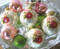 Vintage  Ornaments, I love love love the hand painted roses!