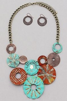 Rusted Elegance Statement Set-necklace-set neon-necklacecklace patina rustic rusted metal statement statement-necklaces bold big