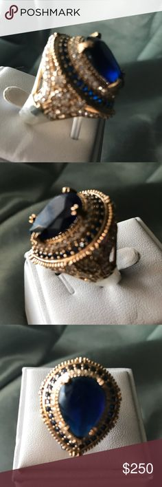 Sapphire 925 stamped sterling Ottoman Sultan Ring WOW! Huge sapphire and white Topaz 925 stamped ring. Has gold plating. Extremely beautiful! Hand made craftsmanship, sapphire made in a lab by gemstone scientists, white Topaz is natural, Jewelry Rings
