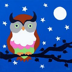 'Owl on Blue' by Charlotte Burr