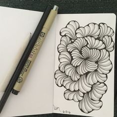 Zentangle a day #ZenArtChallenge.  Day 8. Ginili  Join the challenge with us.  http://www.facebook.com/buchmanheather