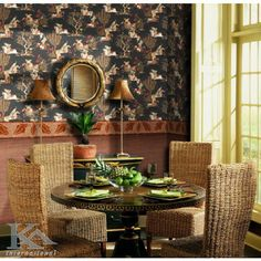 Poti simti gustul verii chiar in propriul living. Oriental Wallpaper, Table Settings, Chairs, Mirror, Design, Mirrors, Place Settings, Stool