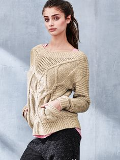 Classic cableknit sweaters, take note: THIS is how you do cozy and cute. | Victoria's Secret Mixed-stitch Cocoon Sweater