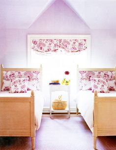 I'm a big fan of Quadrille fabric, this is so pretty for a little girl's room.