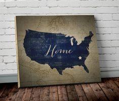Watercolor Navy Blue WORLD MAP Canvas Wall ART Adventure Awaits - Us map canvas wall art