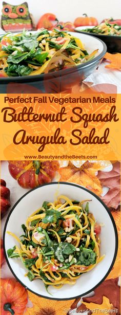 Butternut Squash Arugula Salad recipe Beauty and the Beets #MeatlessMonday