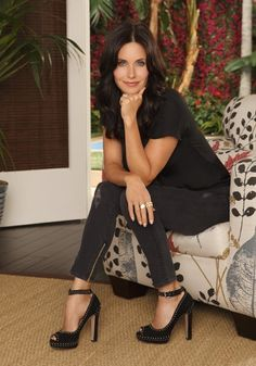 Courteney Cox in very high heels. I thought the Friends cast hated high heels.