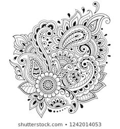 Similar Images, Stock Photos & Vectors of Mehndi flower pattern for Henna drawing and tattoo. Decoration in ethnic oriental, Indian style. Mehndi Designs Book, Mehndi Patterns, Hand Embroidery Patterns, Rangoli Designs, Flower Patterns, Mehndi Flower, Flower Mandala, Mandala Art, Doodle Designs