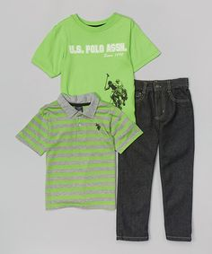 Green & Gray Stripe Polo Set - Toddler & Boys #zulily #zulilyfinds