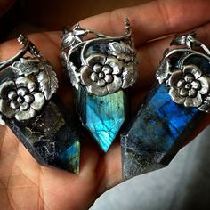 labradorite point crystal pendants