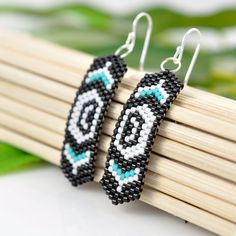 Pacific Northwest Native American inspired Killer Whale beaded earrings by Lost Aloha, $24.00  © 2013, Sydney Alfano Duenas